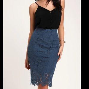 Lulus Blue Lace Scalloped Pencil Skirt